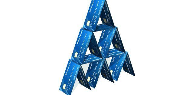 Credit card pyramid isolated on