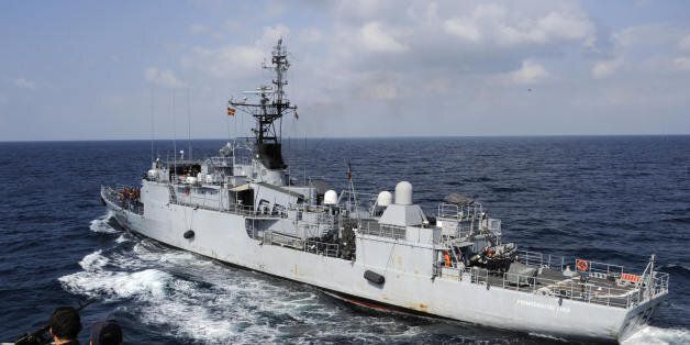 The French frigate Premier-Maitre L'Her cruises alongside Le Floreal while on assigment to escort commercial...