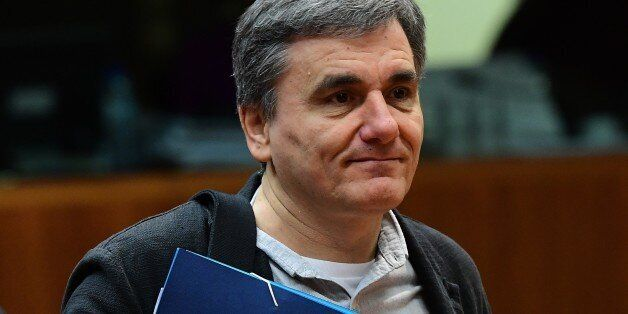 Greece's Finance Minister Euclid Tsakalotos attends an Economic and Financial (ECOFIN) Affairs Council...