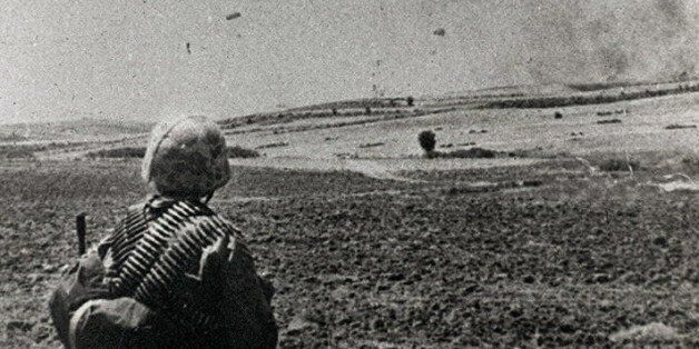 Picture of Turkish paratroopers land in Cyprus, 20 July 1974, during Turkey's invasion of north Cyprus....