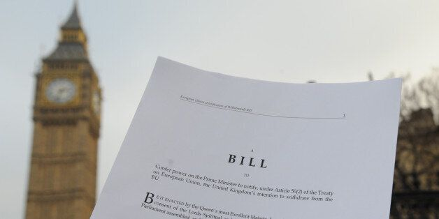 A copy of the Bill to trigger article 50, in front of the Houses of the Parliament in London. (Photo...