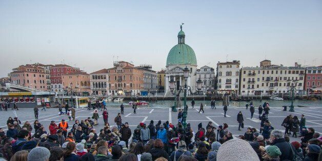 VENICE, ITALY - January 27: Refugees, members of the African community and locals attend a vigil to remember...