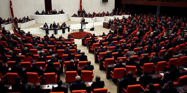 U.S. President Barack Obama addresses the Turkish Grand National Assembly Complex in Ankara, April 6,...
