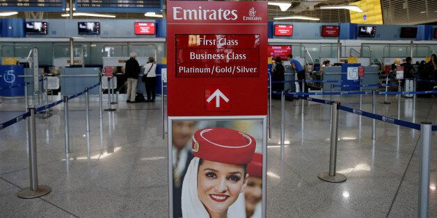 An Emirates Airlines sign indicates the entrance of the check-in area of the Eleftherios Venizelos International...