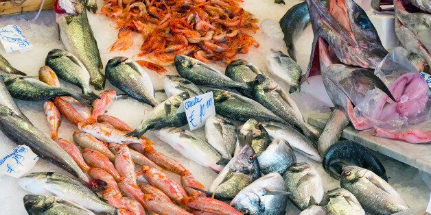 Fresh fish and seafood at the Vucciria market in Palermo,