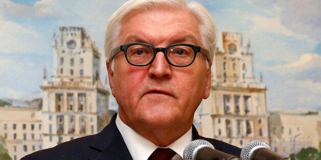 Germany's Foreign Minister Frank-Walter Steinmeier speaks during a news briefing after the talks on the...