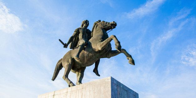 Alexander the Great statue on city square in Thessaloniki,