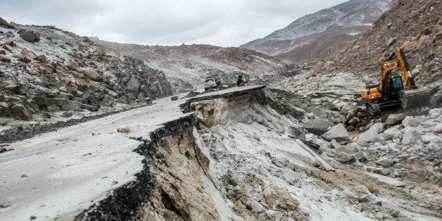 View of the Peruvian Panamerican highway after a landslide in Arequipa, southern Peru, on January 27,...