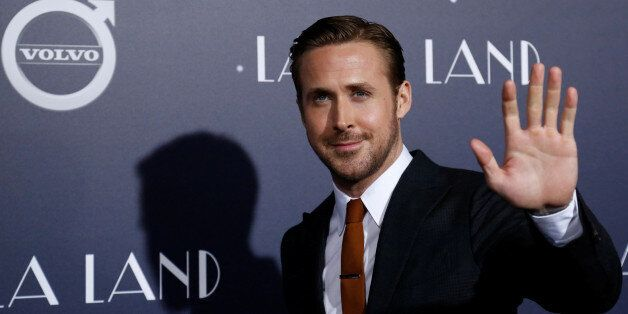 Cast member Ryan Gosling waves at the premiere