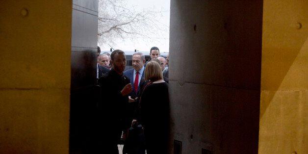 JERUSALEM, ISRAEL - JANUARY 26: (ISRAEL OUT) Israel's Prime Minister Benjamin Netanyahu (C) arrives before...