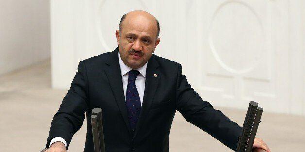 ANKARA, TURKEY - DECEMBER 22: Turkish National Defense Minister Fikri Isik delivers a speech during Grand...