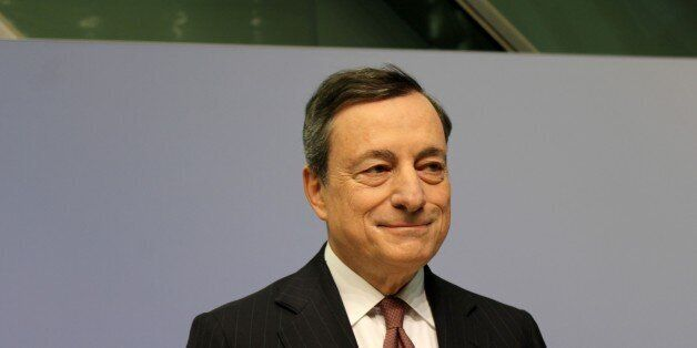 FRANKFURT, GERMANY - JANUARY 19: Mario Draghi, president of the European Central Bank (ECB) speaks during...