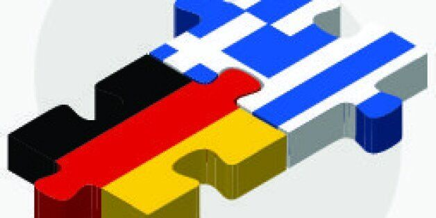 Vector Image - Germany and Greece Flags in puzzle isolated on white