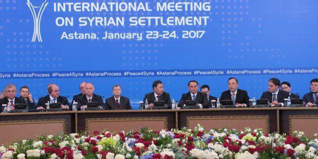 ASTANA, KAZAKHSTAN - JANUARY 23: Kazakhstan's Foreign Minister Kairat Abdrakhmanov (3rd R) takes part...