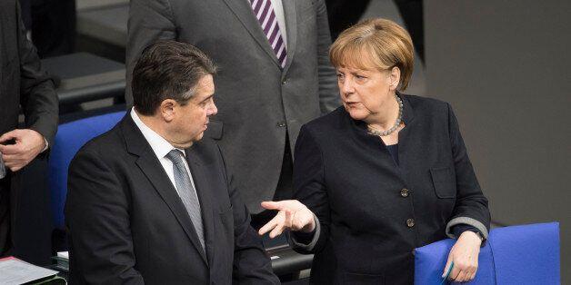 BERLIN, GERMANY - JANUARY 19: German Chancellor Angela Merkel and German Economy Minister Sigmar Gabriel...