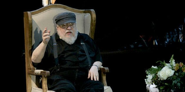 US writer George R.R Martin, author of the book series Game of Thrones, speaks during a conference at...