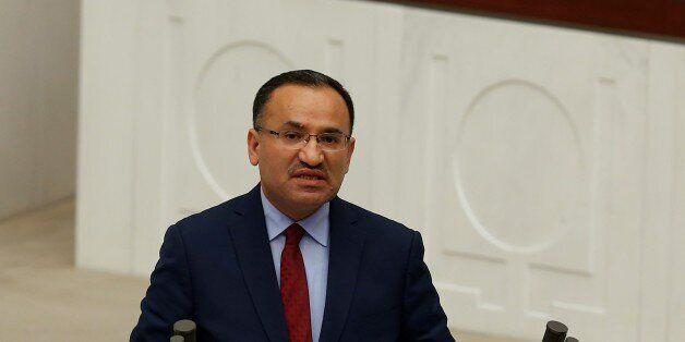ANKARA, TURKEY - JANUARY 9: Turkey's Minister of Justice Bekir Bozdag makes a speech during the parliamentary...