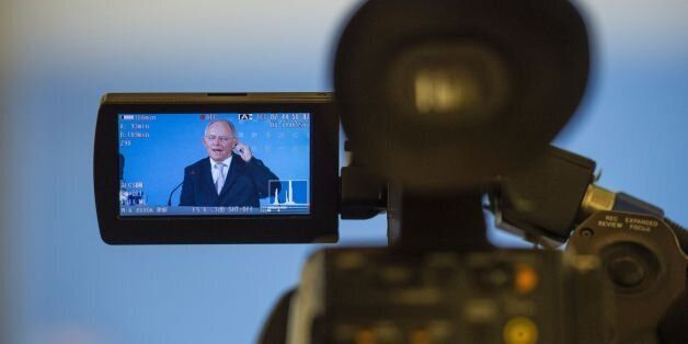 German Finance Minister Wolfgang Schaeuble addresses a press conference for members of the foreign correspondent's...