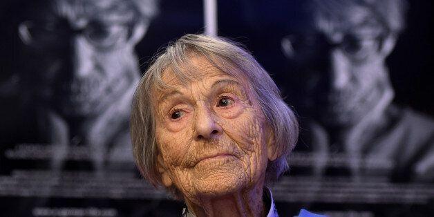 Brunhilde Pomsel, former secretary of Nazi propaganda chief Joseph Goebbels, sits on a cinema chair in...