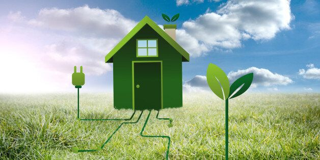 Clean energy house against sunny