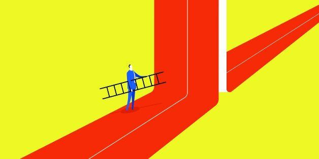 A businessman hold a ladder, he tried to break through barriers to move