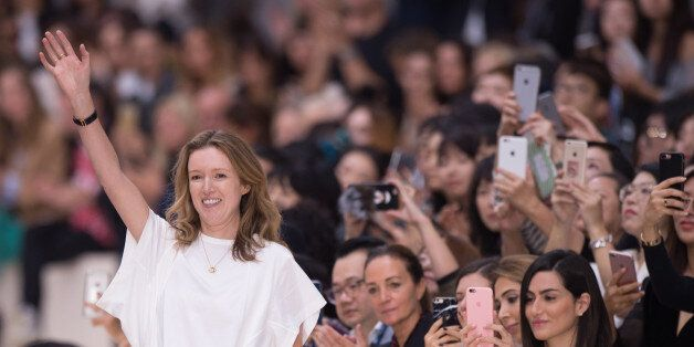 PARIS, FRANCE - SEPTEMBER 29: Designer Clare Waight Keller is seen on the runway during the Chloe show...