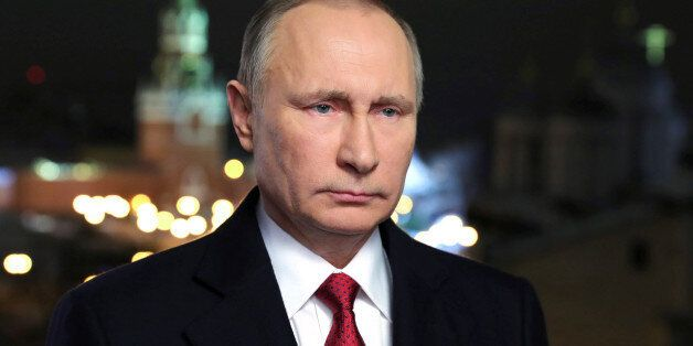 Russia's President Vladimir Putin makes his annual New Year address to the nation in Moscow, Russia,...