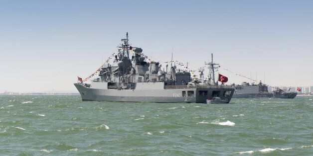 Turkish military ship in the open