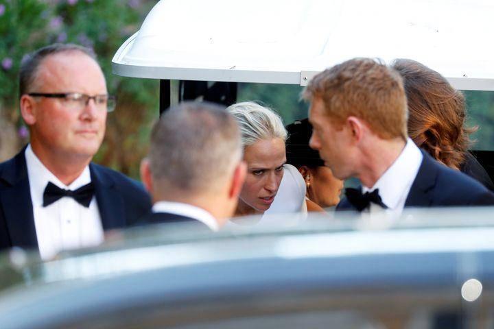 The bride, Misha Nonoo, wearing a white dress.