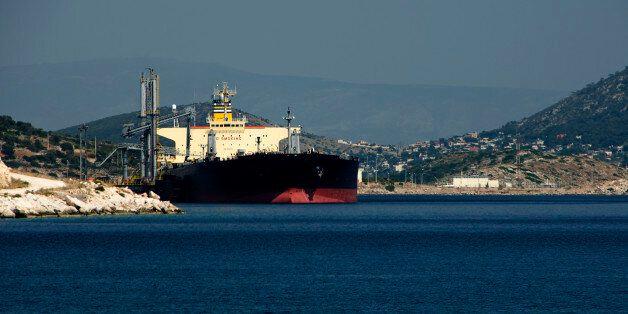 Large greek gas tanker at