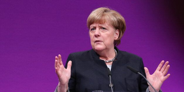Angela Merkel, Germany's chancellor, gestures while speaking during the Europa Quo Vadis? conference...