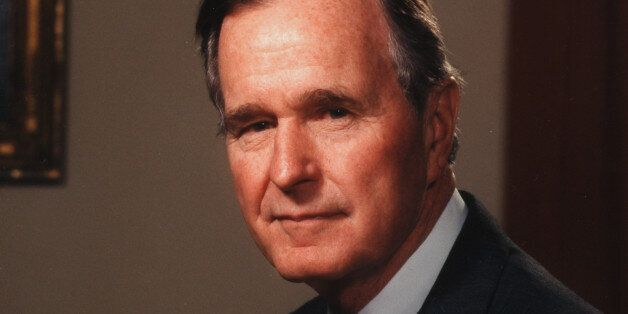 A portrait of American politician George Herbert Walker Bush, the 41st President of the United States,...
