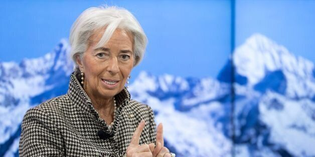 International Monetary Fund (IMF) managing director Christine Lagarde looks on during a meeting on the...