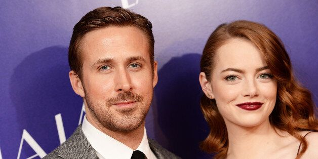 LONDON, ENGLAND - JANUARY 12: Actor Ryan Gosling and Actress Emma Stone attend the Gala screening of...