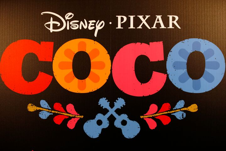 The visual logo at the premiere of Disney Pixar's 'Coco' at Le Grand Rex in Paris, Tuesday Nov. 14 2017.
