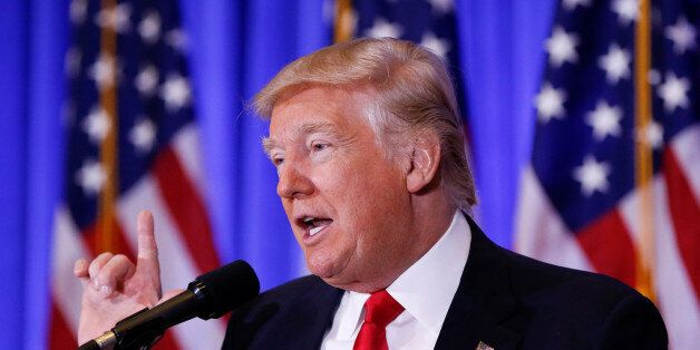 U.S. President-elect Donald Trump speaks during a press conference in Trump Tower, Manhattan, New York,...