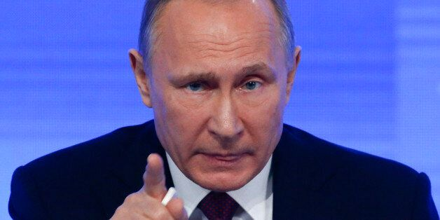 Russian President Vladimir Putin speaks during his annual end-of-year news conference in Moscow, Russia,...
