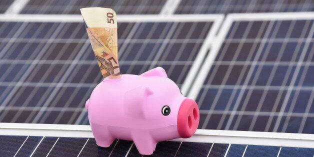 Pig-shaped piggy bank ON solar