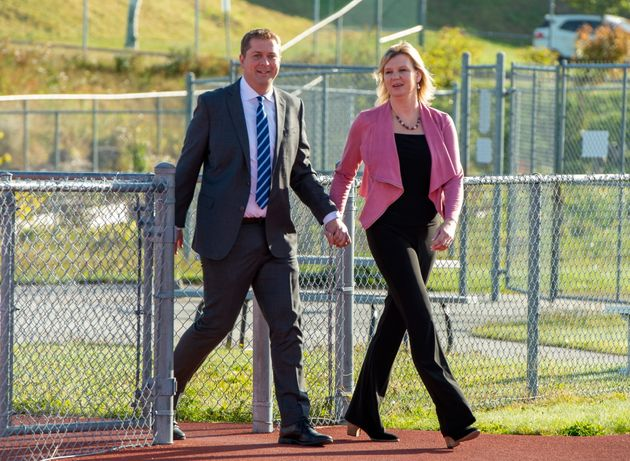 Conservative Leader Andrew Scheer and his wife Jill arrive to make a campaign announcement in Saint John,...