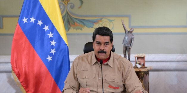 Venezuela's President Nicolas Maduro speaks during a meeting with ministers at Miraflores Palace in Caracas,...