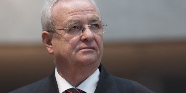 Martin Winterkorn, the former chief executive officer of Volkswagen AG, looks on as he arrives to testify...