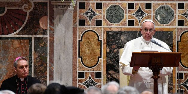 Pope Francis makes his speech during an audience with the diplomatic corps accredited to the Holy See...