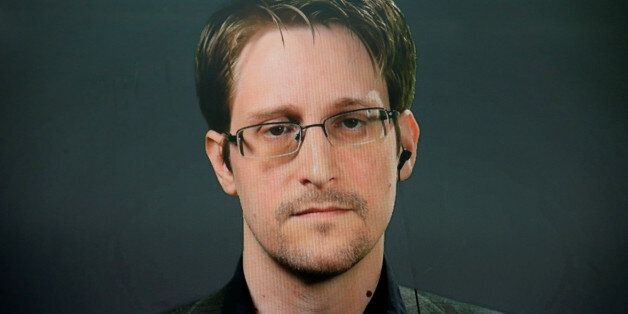 Edward Snowden speaks via video link during a news conference in New York City, U.S. September 14, 2016....