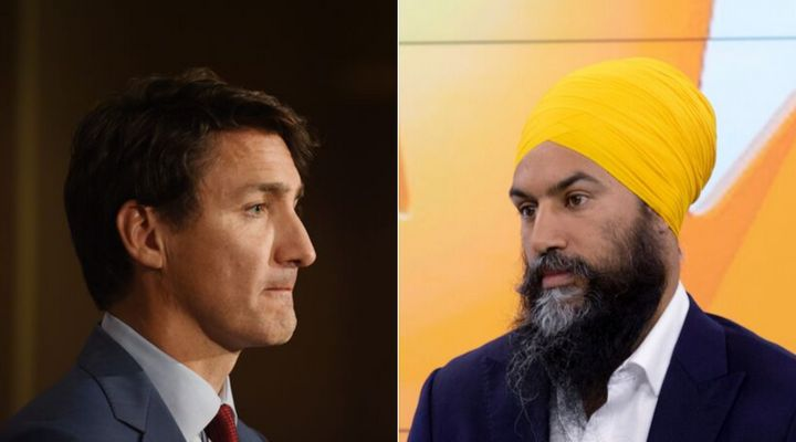 Liberal Leader Justin Trudeau and NDP Leader Jagmeet Singh are shown in a composite image.