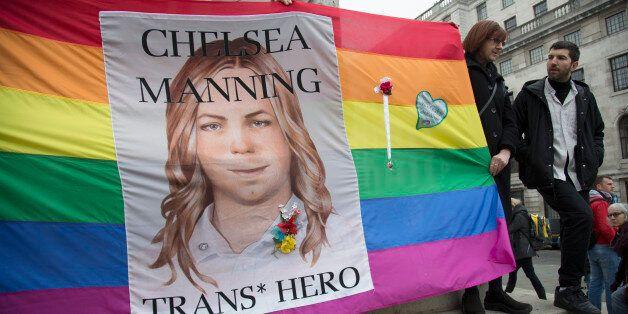 Demonstration for Chelsea Manning in London, England, United Kingdom. Chelsea Manning (born Bradley Edward...