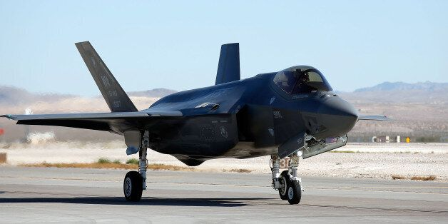 LAS VEGAS, NV - NOVEMBER 11: An F35 Lighting II taxis on the runway prior to an unveiling of Madame Tussauds...