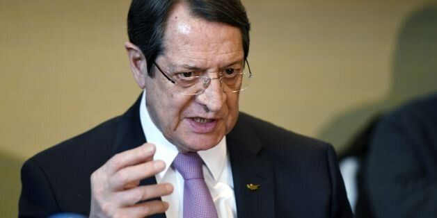 Greek Cypriot President Nicos Anastasiades gives a press conference following UN-sponsored Cyprus peace...