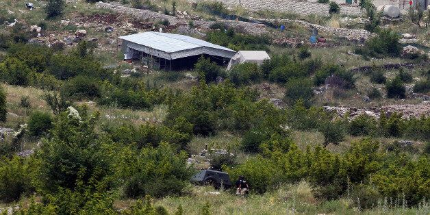 Members of the Albanian special police patrol in the village of Lazarat June 17, 2014. Police raided...