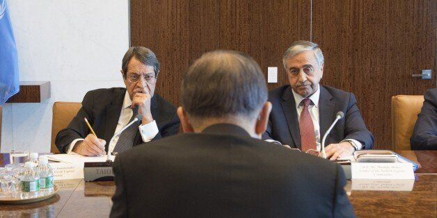 NEW YORK, USA - SEPTEMBER 25: Turkish Republic of Northern Cyprus President Mustafa Akinci (R), United...