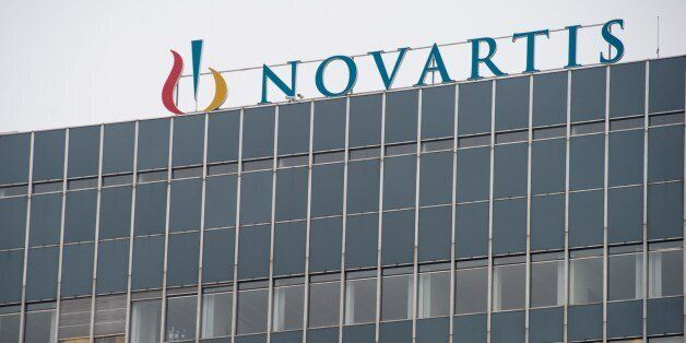 A picture shows the headquarters of Swiss pharmaceutical giant Novartis in Basel on February 17, 2015....